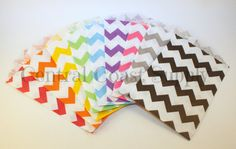 Chevron Bag, Chevron Itty Bitty Bag, Chevron Kraft Bag, Kraft Bag, Party Favor Bags, Chevron Favor Bag, Pack of 18, Variety Pack