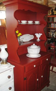 Country Cottage Chic Refurbished Vintage Kitchen Hutch Painted Red.  $300.00, Via Etsy.