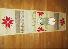 quilted table runner with neutrals