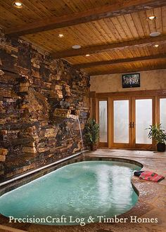 Custom Design | Timber Frame Home | Indoor Pool | by PrecisionCraft Timber Homes by PrecisionCraft Log Homes & Timber Frame, via Flickr