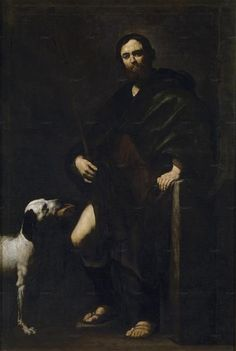 St. Roch ~ Jusepe de Ribera  (1631) ~ OIl on canvas (212 x 144 cm) ~ Museo del Prado, Madrid, Spain.