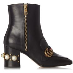 Gucci Peyton faux-pearl embellished leather boots ($1,590) ❤ liked on Polyvore featuring shoes, boots, gucci, black multi, studded leather boots, black leather boots, black loafers, gucci loafers and gucci shoes