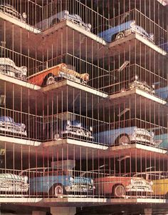 Parking garage - (great old classics all lined up - for the past 60 - 70 years or so?)