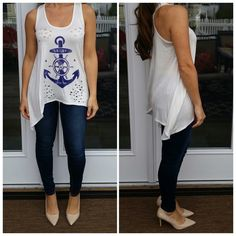 "SALEAnchor distressed anchor tank top FINAL SALE. ASK ANY QUESTIONS BEFORE PURCHASINGWhite distressed tank top.  Blue anchor graphic. New without tags. Made in USA . 96% rayon 4% spandex. Medium: 18"" pit to pit laying flat across. 28"" long. Large: 19"" pit to pit laying flat across. 29"" long. CupofTea Tops Tank Tops"