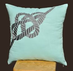 RopeThrow Pillow Cover Gray Nautical Pillow Cover by KainKain, $23.00