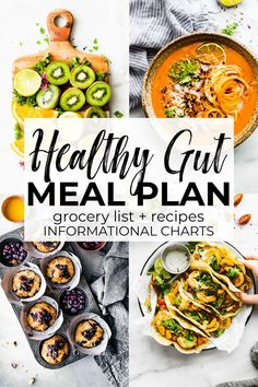 Eating gut healthy foods is an important step in keeping your body nutritionally balanced while providing overall gut health! This gluten free, healthy meal plan will give you ideas of what foods are best for your gut. Low FODMAP foods and recipes Healthy Gluten Free Recipes, Fodmap Recipes, Healthy Snacks, Gluten Free Meal Plan, Healthy Food Options, Nutritious Meals, Free Meal Plans, Healthy Eating Recipes, Healthy Breakfast Recipes