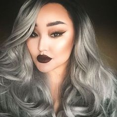 Black to grey ombre lace front wig trend.