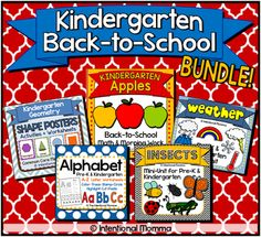 Kindergarten back-to-school bundle, includes no-prep worksheets plus centers for apples, weather, insects, alphabet, and shapes for fall!