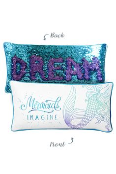 Perfect gift! Kid's IMAGINE Mermaid Pillow with Reversible Aqua/Purple Sequins Back