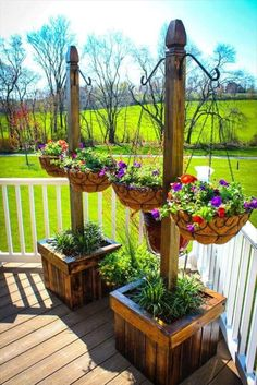 Pallet Planter Stands with Hanging Planter Baskets - 30 DIY Pallet Ideas for Your Home | 101 Pallet Ideas - Part 3 Hanging Planters, Pallets Garden, Basket, Backyard, Plants, Diy, Ideas, Build Your Own, Garden Box Raised