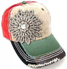 Amazon.com: Womens Orange & Green Multi Colored Rhinestone Baseball Cap (Major Bling): Clothing
