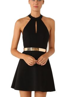To find out about the Black Halter Contrast Scallop Lace Backless Dress(Exclude Belt) at SHEIN, part of our latest Dresses ready to shop online today! Black Party Dresses, Cute Dresses, Short Dresses, Skater Dresses, Ball Dresses, Classy Dress, Dress Me Up, Homecoming Dresses, Dress To Impress