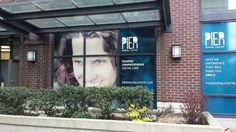 Printed graphics and transparent vinyl.  Designed by Pixel Pop (www.pixelpop.ca) for PIER Dental Centre (pierdentalcentre.com).  Produced and installed by FASTSIGNS Vancouver. Dental Center, Make You Smile, Vancouver, Centre, Window, Graphics, Lettering, Pop, Printed
