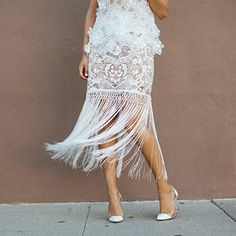 Fringe and Lace Skirt  Back in stock - Luxe white delicate lace skirt with fringe details is to die for. So beautiful and brand new?for any celebration event this year and beyond. Boutique Dresses Wedding