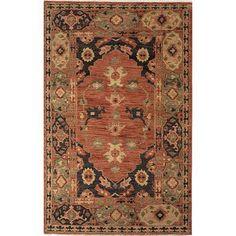 Clic Oriental Orange Wool Area Rug Joan