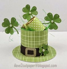 DIY Leprechaun Hat Table Decoration —  St. Patrick's Day gift box by I Love 2 Cut Paper (with instructions and templates).