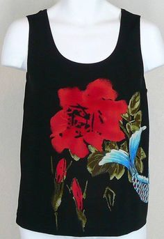 CHICO'S TRAVELERS BLACK TANK TOP BIG KOI FISH & RED FLOWER 3 or XL #Chicos #TankCami #Casual