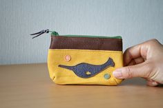 Leather mini pouch Purse Upcycled Narwhal Nautical by takakutsu, $28.00