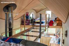 A plexiglass-bottomed walkway joins both loft bedrooms