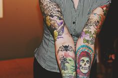 Love the classic B-horror tattoos - Frankenstein's monster, and I think that's the Swamp Thing...