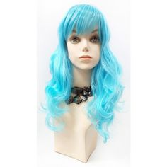 Long 17 Inch Wavy Light Blue Color Wig With Bangs Anime Cosplay... ($40) ❤ liked on Polyvore featuring bath & beauty, hair care, silver and wigs