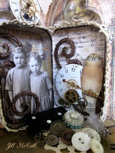 Sweet Sisters- Altered Tin Shadow Box Assemblage.