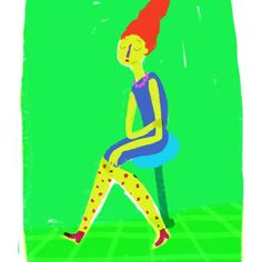 #illustration #girl #nurit_mitgartz #color #green #digitalart #thinking