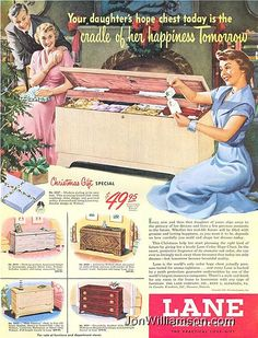 1950 Lane Cedar Hope Chest Christmas Gift Modern Miss America Print Ad Retro Advertising, Retro Ads, Vintage Advertisements, Vintage Ads, Vintage Posters, Vintage Homes, Vintage Girls, Vintage Images, Vintage Decor
