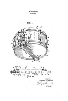Rogers Snare Drum 1960s Patent Art Drawing by GuitarsPatents, $9.99