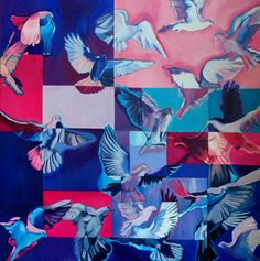 Madarak, olaj, vászon, 100x100 cm Quilts, Blanket, Country, Logos, Art, Art Background, Rural Area, Quilt Sets, Logo