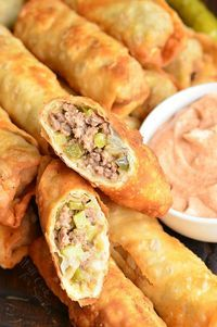 Cheeseburger Egg Rolls - Will Cook For Smiles