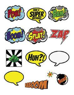 Superhero Cupcake Toppers  BOOM POW SPLAT by 7under1designs, $4.00