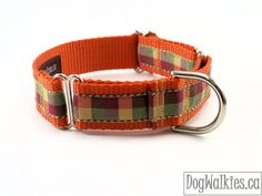 "Fall Plaid / Orange Tartan Dog Collar / 1"" Wide / Martingale or Plastic Quick Release Dog Collar / Autumn / Thanksgiving"