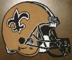 New Orleans Saints Football Helmet Plastic Canvas Pattern Plastic Canvas Coasters, Plastic Canvas Tissue Boxes, Plastic Canvas Crafts, Plastic Canvas Patterns, Football Blanket, Saints Football, Football Team, Peler Beads, Perler Patterns