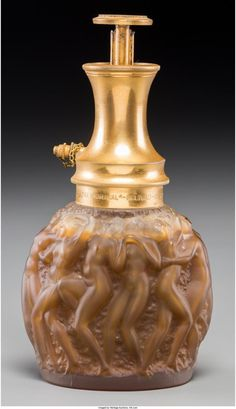AN R. LALIQUE FROSTED GLASS LE PROVENCAL PERFUME ATOMIZER FOR MOLINARD, CIRCA 19