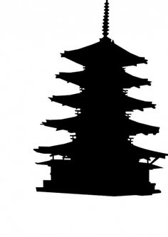 PublicDomainVectors.org-Vector silhouette drawing of wooden five-story pagoda in Japan. Black and white graphics of one of the oldest wooden buildings in the world.