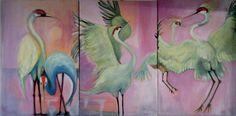 Dancing Cranes. Painting.