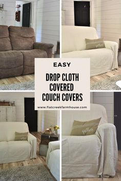 Drop Cloth Covered Couch Covers, would add some elastic clips tho add more definition to the bottom, and avoid gathering dust bunnies Sectional Covers, Sectional Slipcover, Couch And Loveseat, Sofa Covers, Slipcovers, Best Couch Covers, Couches, Diy Sofa Cover, White Couch Cover