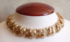 Brown Thermoset Necklace Choker Beige Tan L Shape Pieces Gold Tone Adjustable Vintage Estate V0409 by cutterstone on Etsy