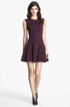 Leopard Jacquard Fit & Flare Dress.
