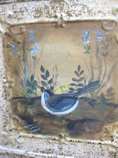 Antique chippy ceiling tin tile w/handpainted songbird