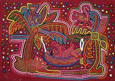 Mola from Panama created by an unknown  Kuna Indian woman:  Man Resting in Tropical Hammock
