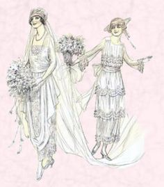 1919 Wedding dress and bridesmaid's dress