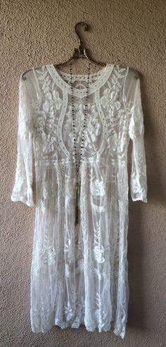 Image of Gypsy Leith Anthropologie  lace and crochet wedding gown for resort beach