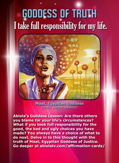 Maat, African Goddess - Positive #Affirmation Card...