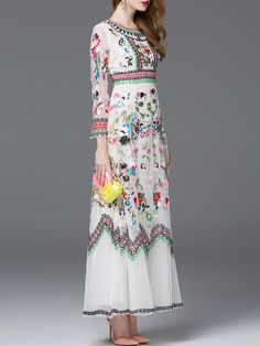 Vestido bordado maxi -blanco