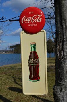 vintage coke signs | VINTAGE 1940s COCA COLA SODA DRINK COKE PILLAR SIGN w BOTTLE & 16 ...