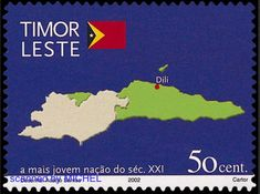 Timor-Leste 2002 - Map of East Timor Theme List, Timor Leste, Stamps, Map, This Or That Questions, Logos, Postage Stamps, Location Map, Stamping
