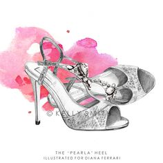 """LINE BOTWIN """"Girly illustrations# #chic #fashion #girly #illustration the pearla heel"""