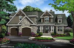 Home Plan 1428 The Oscar - Now in Progress. The storybook exterior features a front facing garage that is ideal for narrower lots. #WeDesignDreams